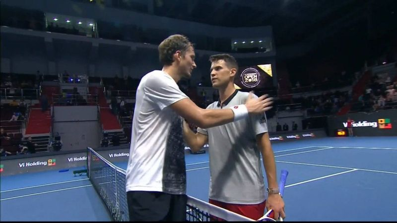 Dominic Thiem and Daniil Medvedev after their quarter-final match in St Petersburg in 2018