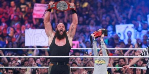 Braun Strowman winning the Raw Tag Team Championship with a 10-year-old