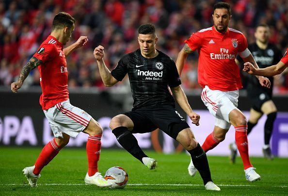 b126a18f48a Jovic in action for Eintracht Frankfurt - UEFA Europa League Quarter Final    First Leg
