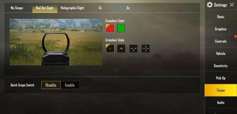 PUBG Mobile Screenshot Showcasing the New Crosshairs