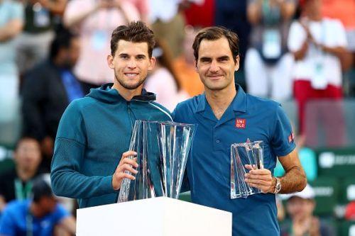 Austria's Dominic Thiem after beating Switzerland's Roger Federer