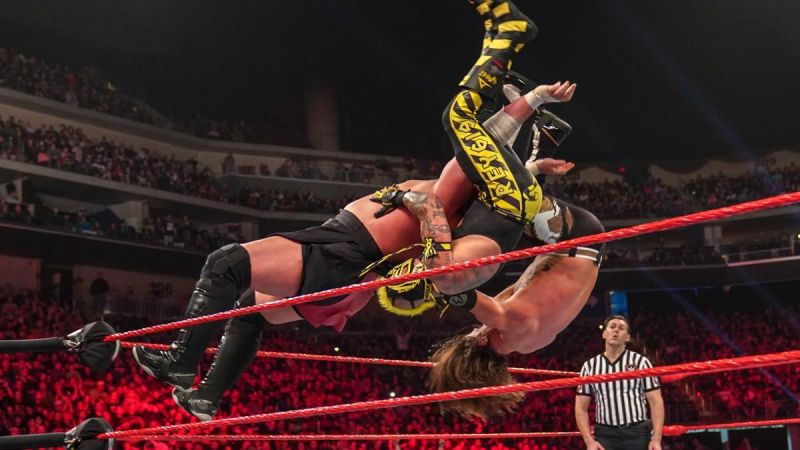 Samoa Joe wiped out both opponents with one move!