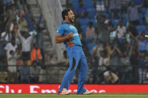Nagpur: Hamid Hassan of Afghanistan celebrates fall of a wicket during a WT20 match between West Indies and Afghanistan at Vidarbha Cricket Association Stadium, Jamtha in Nagpur on March 27, 2016.