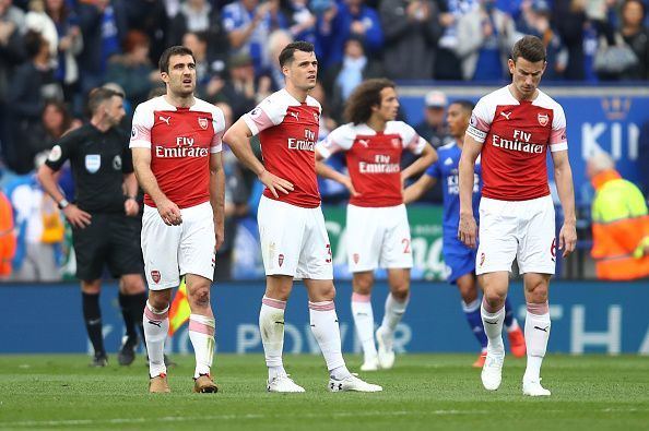 Arsenal FC  look dejected as they lose their third game in a row.