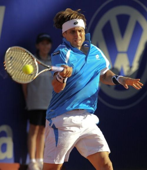 David Ferrer in action at 2012 Barcelona Open Banc Sabadell Final