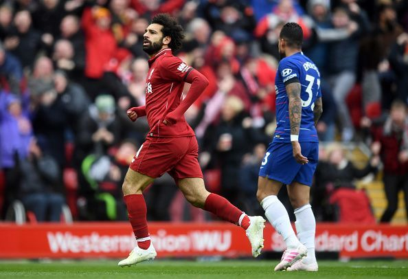 Salah wheels away to celebrate his strike, doubling the hosts' lead against his former employers in style