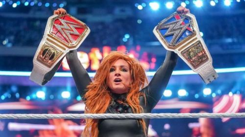 Becky holding all the gold