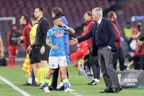 Insigne walks off the pitch after being substituted in the second leg of Napoli's Europa League tie against Arsenal