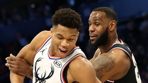 LeBron James and Giannis Antetokounmpo at the 2019 NBA All-Star Game