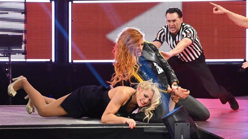Becky Lynch was confronted by Lacey Evans on Raw