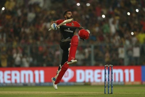 Virat Kohli celebrating his fifth IPL ton at Eden Gardens
