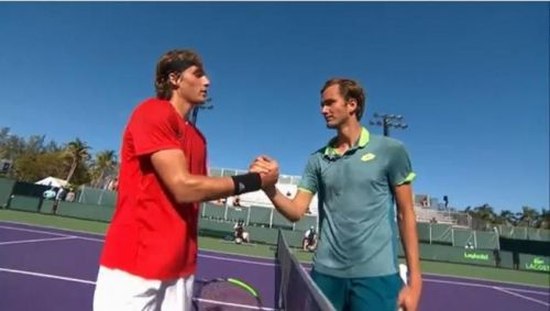 Tsitsipas and Medvedev after their first round match-up in Miami Open 2018