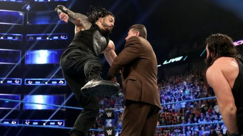 Roman Reigns delivered a Superman Punch to Vince McMahon upon his arrival