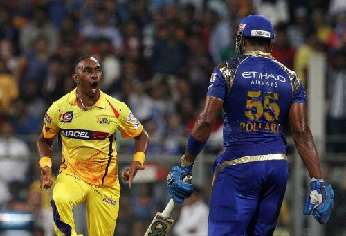 Dwayne Bravo and Kieron Pollard - Source: BCCI/IPLT20.com
