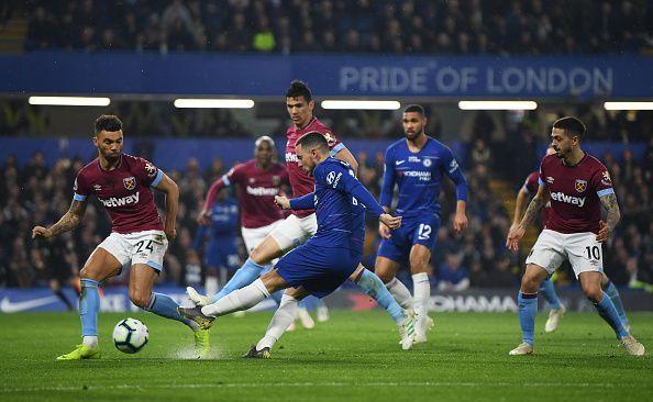 Chelsea FC beat West Ham 2-0 after Hazard hauls two.