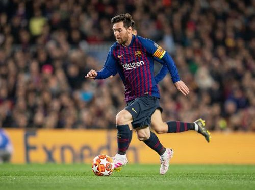 Messi in action against Manchester United