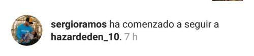 Sergio Ramos started following Eden Hazard on Instagram.