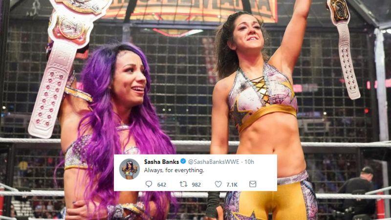 Sasha Banks appeared to thank Bayley, tweeting: