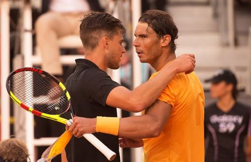 Rafael Nadal congratulates Dominic Thiem at Madrid Open 2018 as the latter brought an end to his fifty-set unbeaten streak on clay!