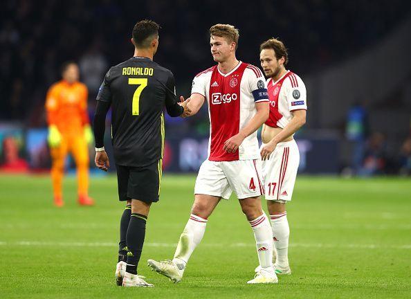 Cristiano Ronaldo (l), Matthijs De Ligt (centre), Daley Blind (r)