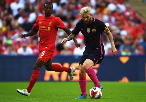 Lionel Messi in action against Liverpool