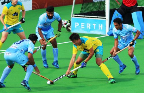 India defend in their match against Australia