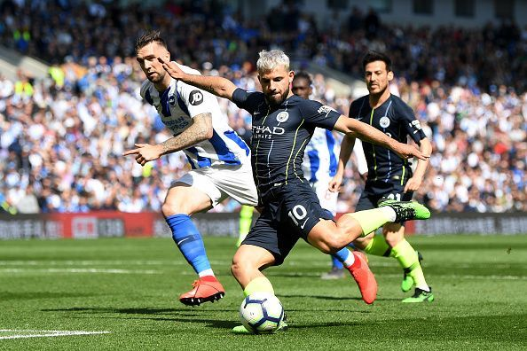 Aguero equalised a minute after Murray had headed Brighton in-front