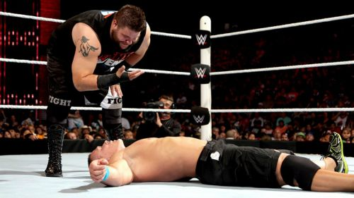Then the NXT Champion, Kevin Owens made his presence felt on the main roster by flattening Cena.