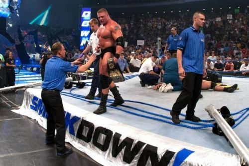 Lesnar getting up after the show