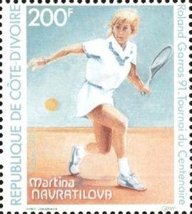 A stamp issued by Ivory Coast on Martina Navratilova.