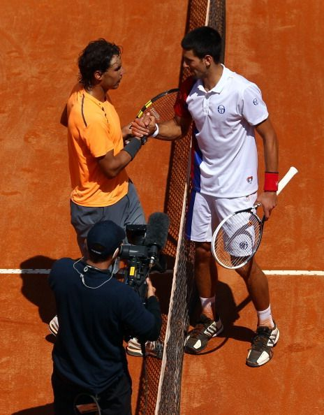 Nadal and Djokovic after their final clash at Rome
