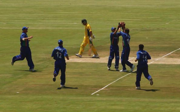 Namibia celebrate taking the wicket of Ricky Ponting...