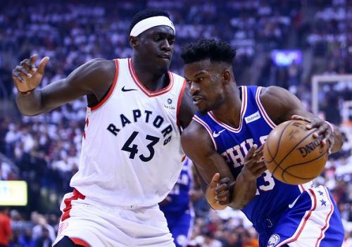 Pascal Siakam guarding Jimmy Butler