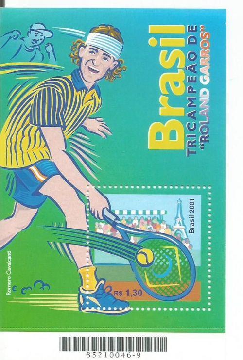 A miniature sheet from Brazil featuring three times French Open champion Gustavo Kuerten.