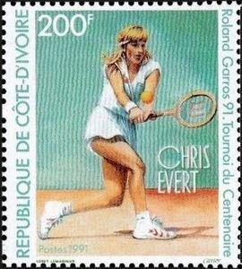 A stamp issued by Ivory Coast featuring Chris Evert during the French Open centenary in 1991.