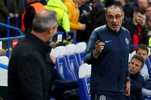Maurizio Sarri (right) during Chelsea's Europa League semi-final matchup against Eintracht Frankfurt