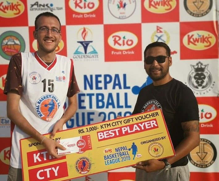 Sagar Thapa (L) of Kirtipur Basketball Club was declared the Man of the Match