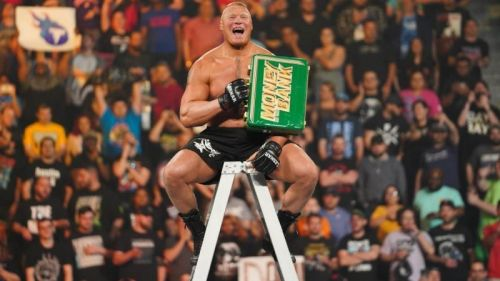 Brock Lesnar with the MITB briefcase