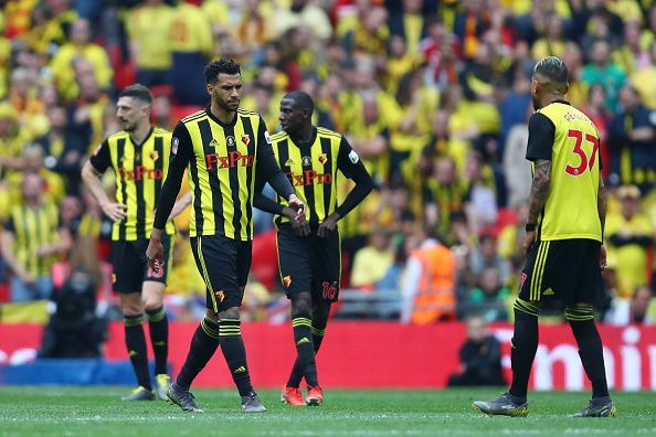Pereyra (far right) missed a great opportunity at 0-0 to give Watford the lead, which led to their downfall