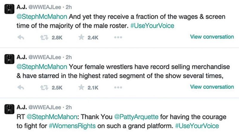 AJ Lee tweeted directly to her boss Stephanie McMahon in what many believe was the spark for the women