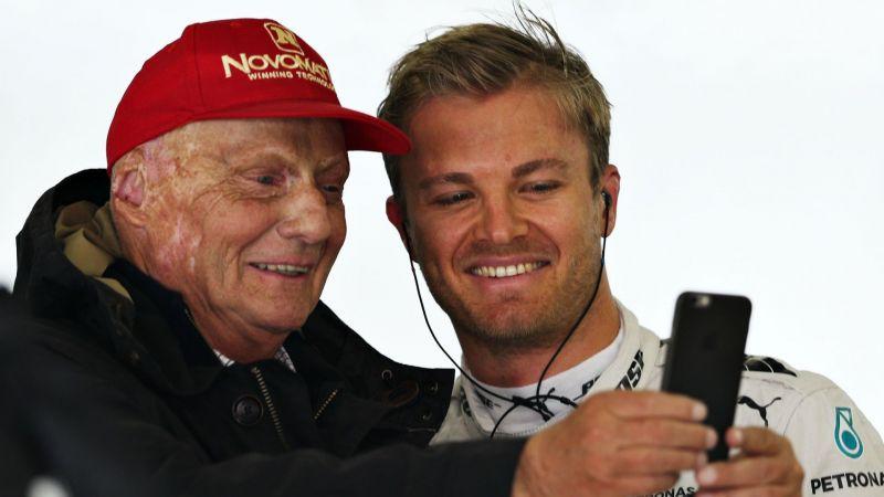 Nick Rosberg and Niki Lauda at the 2016 Formula One Grand Prix in China