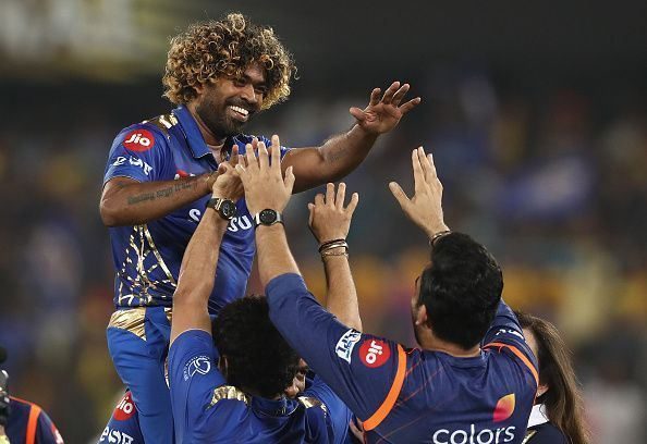 Malinga celebrates the IPL 2019 final win (Image courtesy - IPLT20/BCCI)