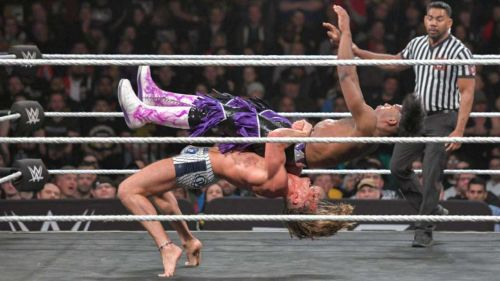 Matt Riddle hits a picture perfect bridging German suplex on Velveteen Dream at NXT Takeover.