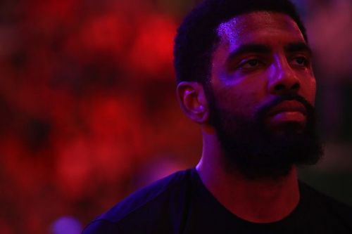 Kyrie Irving awaits tip-off for Game 2 of the Indiana Pacers v Boston Celtics series