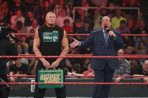 Brock reads paul heyman money in the bank