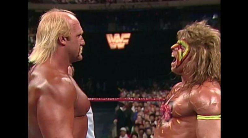Ultimate Warrior faces off against Hulk Hogan at Wrestlemania 6