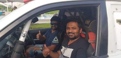 Aabhishek Mishra with co-driver Srikanth Gowda