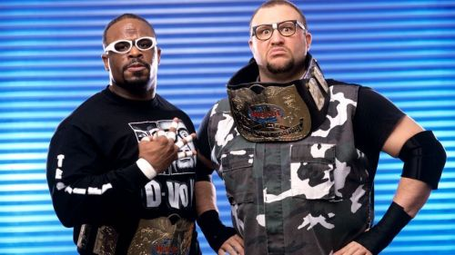 D-Von and Bubba Ray Dudley with the WWE World Tag Team Championships.