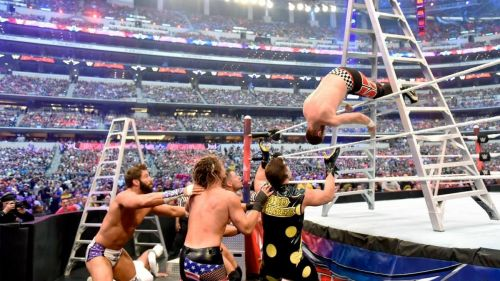 Sami Zayn going for a high dive at WrestleMania 32.