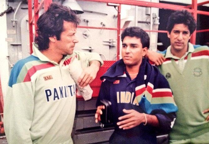 Sanjay, with his idol Imran Khan, during the 1992 World cup